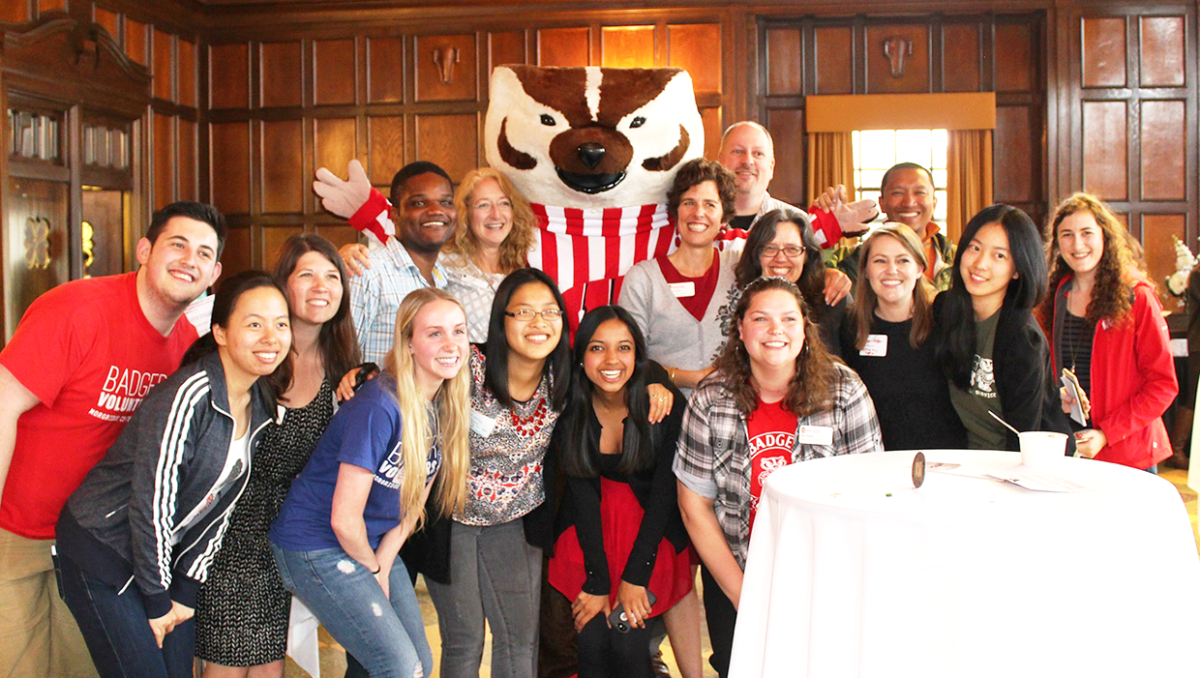 Morgridge Center staff and students pose for a photo at the 2015 Be the Change Bash