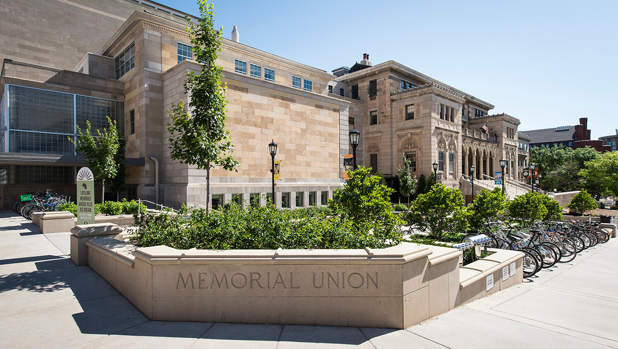 The exterior of the Memorial Union at the University of Wisconsin-Madison