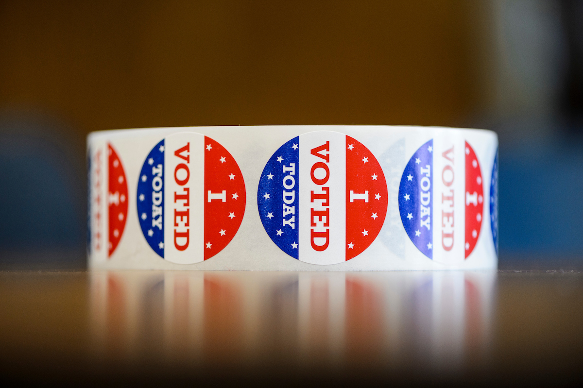 "On Nov. 8, 2016, ""I voted today"" stickers await people completing their election ballot and registering their vote at the Armory and Gymnasium (Red Gym) at the University of Wisconsin-Madison, one of several official polling places for UW-Madison students living on campus. Voters will choose the next U.S. president as well as candidates for other federal, state and local offices. (Photo by Jeff Miller/UW-Madison)"