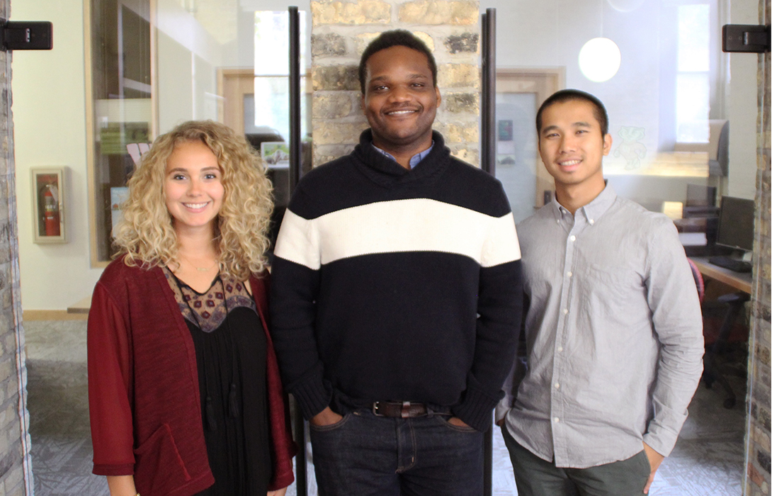 Amy Wilson, Reuben Sanon, and Xai Xiong as the new Morgridge Center for Public Service professional staff