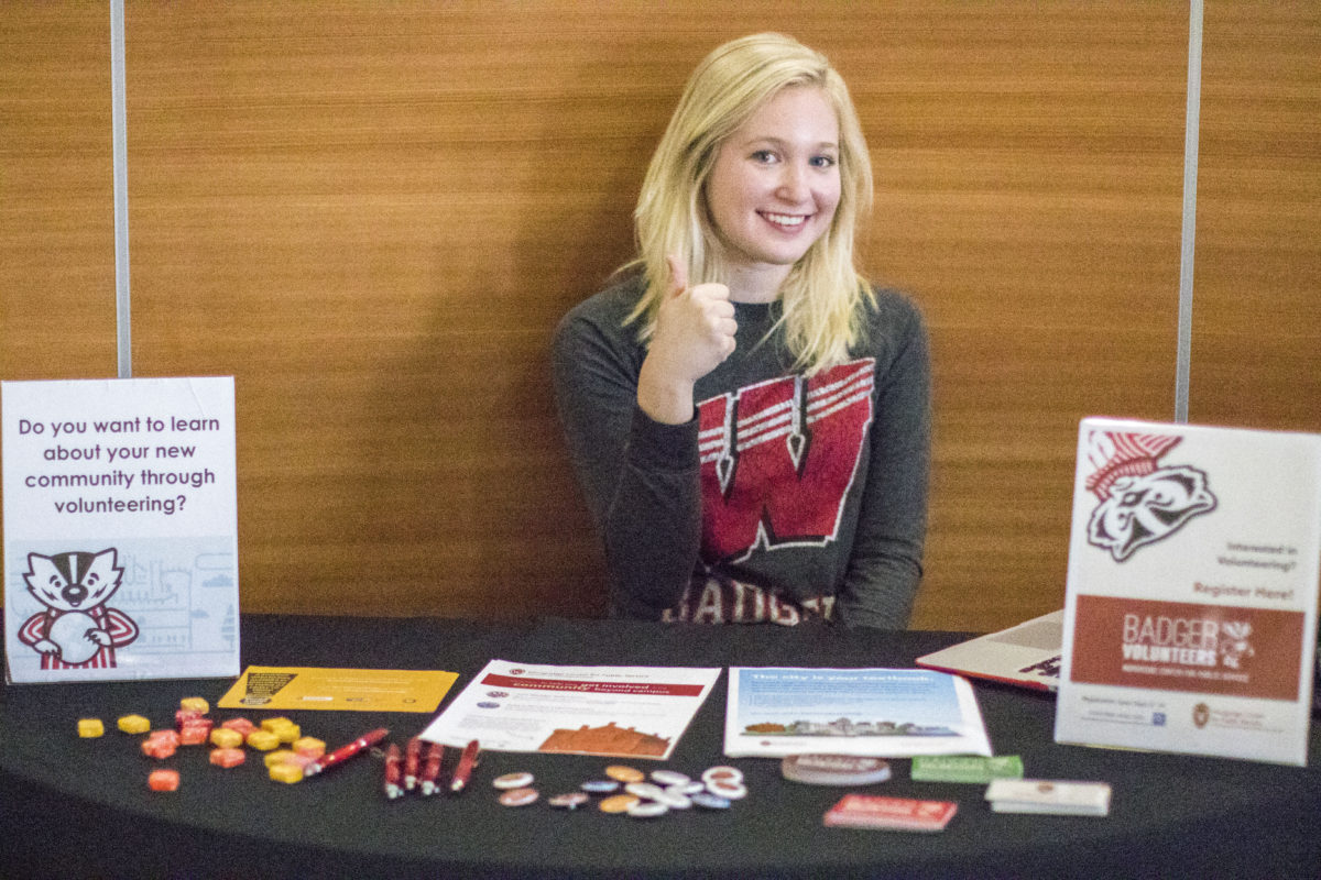 Anna Walther, the Campus Outreach Intern, presents at a number of campus-wide events on Public Service opportunities and the importance of getting involved in your community.