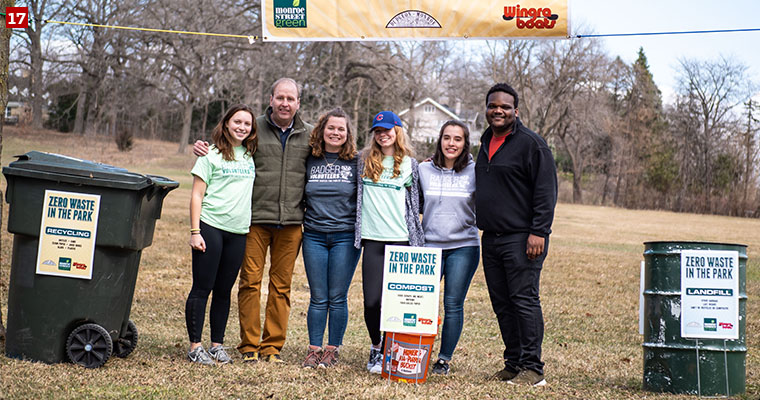 A Badger Volunteers team working with the Wisconsin Environmental Initiative, an organization that seeks to improve Wisconsin's environment, economy and quality of life.