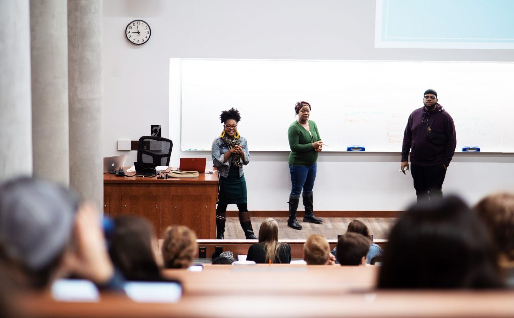 Bianca Baldridge, assistant professor in education policy studies at the University of Wisconsin-Madison, lectures to students during her Education Policy 210: Youth, Education and Society class in the Education Building.