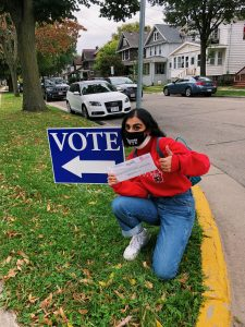 Bandyopadhyay gets ready to turn in her absentee ballot