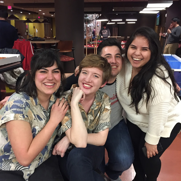 Silva bowling at a MCPS event with friends and fellow interns Gilly McBride, Fisnik Lumani and Asly Warren.